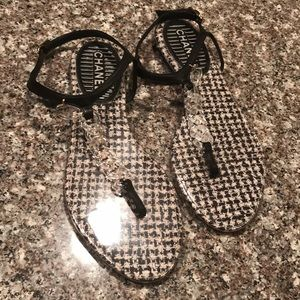 Chanel CC PVC Tweed Thong Sandals—As IS